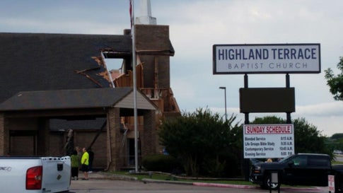 Structural damage to the Highland Terrace Baptist Church is seen in Greenville, Texas, on Wednesday, June 19, 2019. (Twitter/Jobin Panicker)