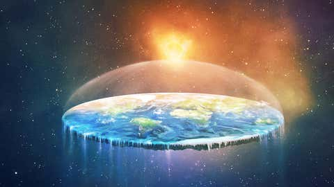 A surreal illustration of a flat earth in space