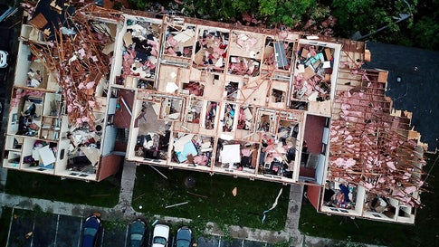 This aerial photo shows tornado damage at the Westbrooke Village Apartment complex in Trotwood, Ohio, on Tuesday, May 28, 2019. (Doral Chenoweth III/The Columbus Dispatch via AP)