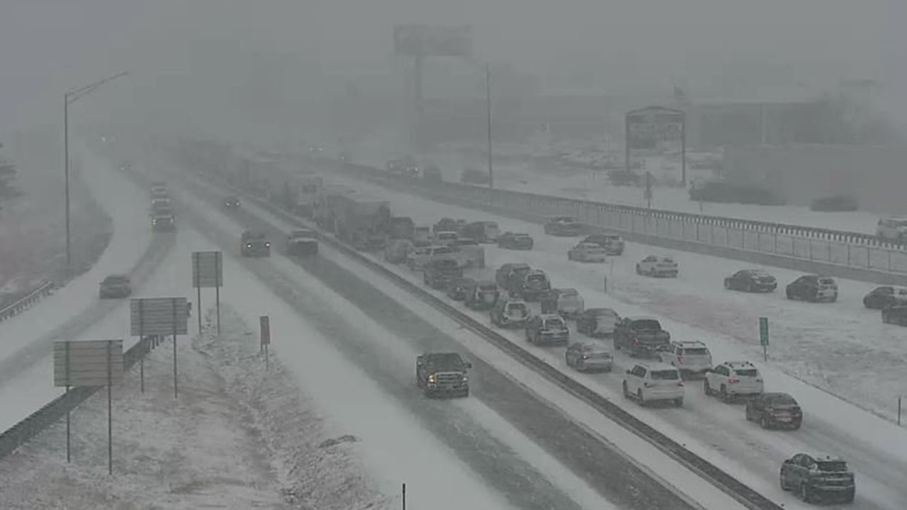 Interstate 70 in Boone County, Mo., is seen backed up due to several accidents as Winter Storm Nadia headed into the state on Friday, Feb. 15, 2019. (Twitter/@MoDOT_Central)