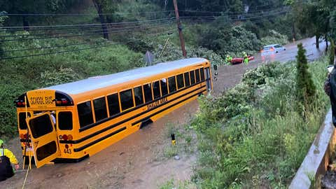 Rescue crews in Shaler Township, Pa., spent the morning of Sept. 1, 2021, performing water rescues, including rescuing  41 passengers from a school bus that was stranded in floodwaters as Ida's remnants moved north. (Twitter/@CherryCityFire)