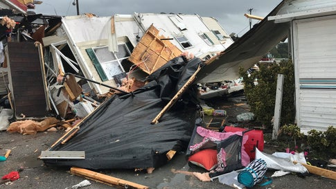 The Boardwalk RV Park was damaged about 9 a.m. Thursday, September 5, 2019, after a waterspout or tornado was spawned by Hurricane Dorian, according to Emerald Isle town officials. No injuries were reported. (Facebook/Town of Emerald Isle)