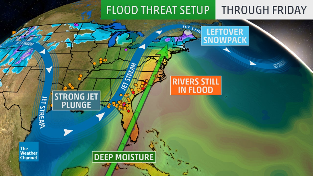Florida To Maine Map.Another East Coast Soaking May Trigger Flooding From Florida To