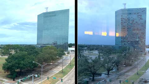Before and after Hurricane Laura: The image on the left shows the view from the Louisiana Fire Marshal's office in Lake Charles, Louisiana, on Wednesday, August 26, 2020. The image on the right is from Thursday, August 27, 2020, after Hurricane Laura roared ashore. (Twitter/LAFIREMARSHAL)