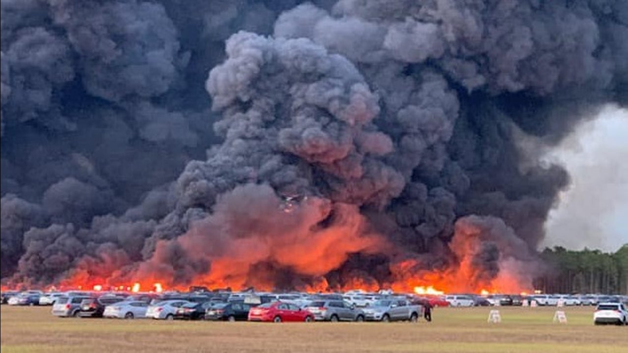 Plumes of black smoke could be seen 20 miles away