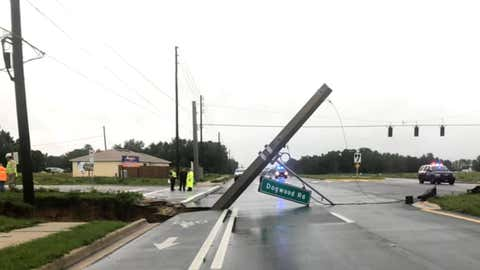 Heavy rains associated with Tropical Storm Cristobal saturated the ground in Florida's Marion County, causing a large sinkhole to form on Sunday, June 7, 2020, alongside State Road 35 at Dogwood Road, the Marion County Sheriff's Office reported. (Facebook/Marion County Sheriff's Office)