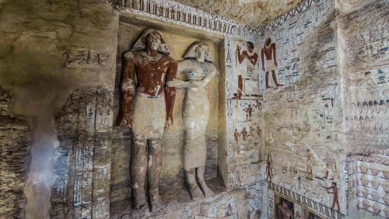 A tomb discovered at the Saqqara necropolis south of Cairo, Egypt, belonged to a royal priest known as Wahtye. The well-preserved tomb is decorated with scenes showing the priest alongside his mother, wife and other members of his family. (Khaled Desouki/AFP/Getty Images)