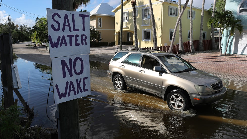 A car drives down a flooded street on October 22, 2019 in Key Largo, Florida. King-tide level waters combined with earlier storms and other factors has forced water onto the streets in parts of the Florida Keys, which will likely see increased flooding as sea levels continue to rise. (Joe Raedle/Getty Images)