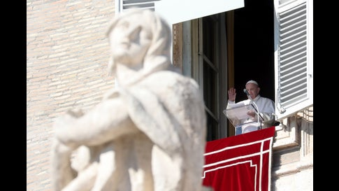 VATICAN CITY, VATICAN - FEBRUARY 16: Pope Francis delivers his Sunday Angelus Blessing from the window of the Apostolic Palace overlooking St. Petr's Square on February 16, 2020 in Vatican City, Vatican. (Photo by Franco Origlia/Getty Images)