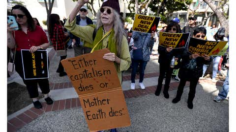Nancy Lawrence joined a few hundred at Pepper Tree Plaza in San Pedro on Friday, March 6, 2020 to rally against the fossil fuel industry and to promote action on climate change. The rally was organized by Greenpeace USA and Fire Drill Fridays. Celebrities that added their voice to the cause included Jane Fonda, Diane Lane, Lily Tomlin, Rosanna Arquette and Tom Waterston. (Photo by Brittany Murray/MediaNews Group/Long Beach Press-Telegram via Getty Images)