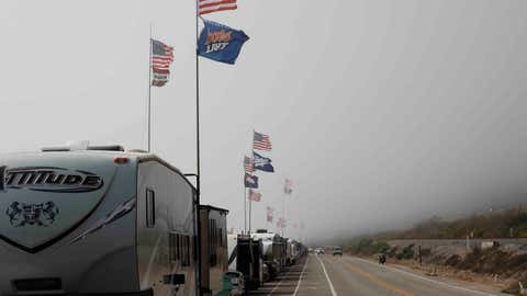 VENTURA, SOUTHERN CALIFORNIA: Recreational Vehicles parked alongside the ocean alongside the Pacific Coast Highway on July 4th. Most Beaches and beach parking are closed from the 3rd through to the 7th of July as California fights rising Covid-19 infections. (Photo by Brent Stirton/Getty Images)