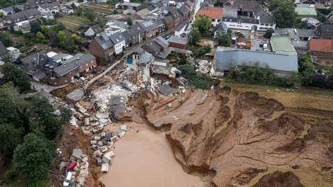 An aerial view shows an area destroyed by the floods in the Blessem district of Erftstadt, western Germany, on July 16, 2021. (SEBASTIEN BOZON/AFP via Getty Images)