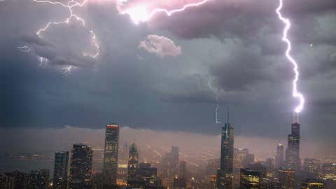 Lightning strikes the Willis Tower (formerly Sears Tower) during a summer thunderstorm in downtown Chicago. (Scott Olson/Getty Images)