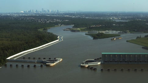 The Gulf Intracoastal Waterway West Closure Complex, part of the $14.5 billion upgrade to New Orleans' flood defenses in the wake of Hurricane Katrina.