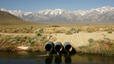File photo of the Los Angeles Aqueduct, which carries water from the snowcapped Sierra Nevada Mountains to major urban areas of southern California, near Lone Pine, California. (David McNew/Getty Images)