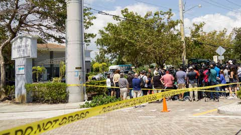 HOLLYWOOD, FL - SEPTEMBER 13:  City officials and medical staff  address the media outside of a rehabilitation center in the city where six patients were found dead September 13, 2017 in Hollywood, Florida. The deaths may be due to to the home's loss of air conditioning after Hurricane Irma struck on September 10, according to published reports.   (Photo by Angel Valentin/Getty Images)