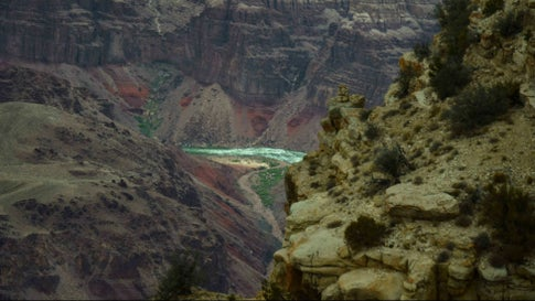 The Colorado River is seen at the bottom of the Grand Canyon on April 20, 2018. - The Grand Canyon is a steep-sided canyon carved by the Colorado River in Arizona, United States. The Grand Canyon is 277 miles (446 km) long, up to 18 miles (29 km) wide and attains a depth of over a mile (6,093 feet or 1,857 meters). (Photo by Eric BARADAT / AFP) (Photo credit should read ERIC BARADAT/AFP via Getty Images)