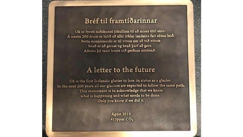 The message on the plaque commemorating Iceland's Okjokull was written by Icelandic author Andri Snaer Magnason. (Rice University/Dominic Boyer and Cymene Howe)
