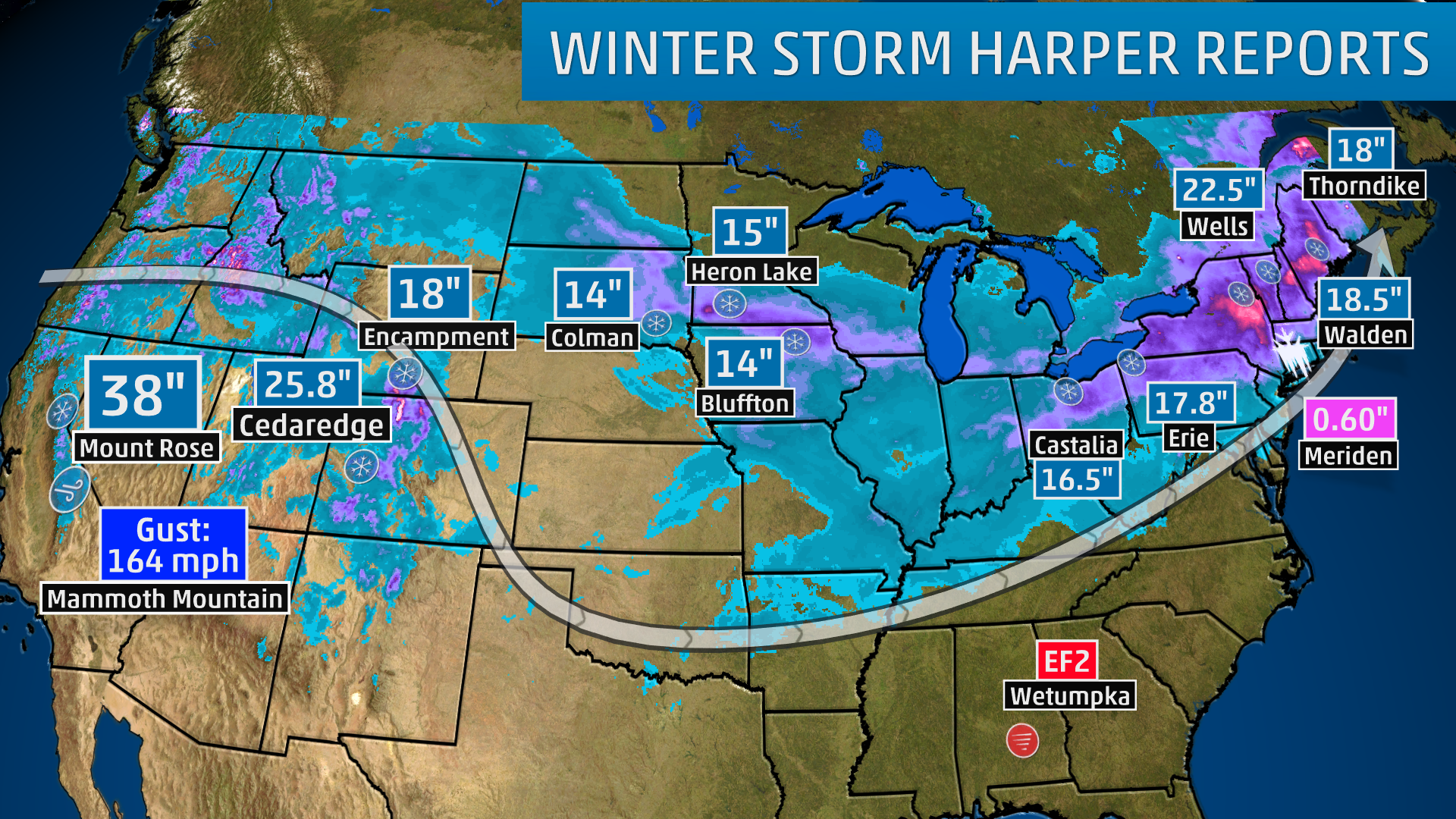 Winter Storm Harper: Final Snow Tallies