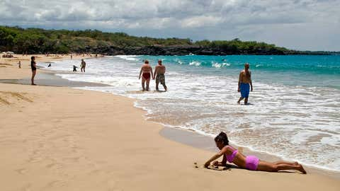 Hapuna Beach State Park on the Big Island of Hawaii was picked as the top beach in America for 2021 by Dr. Beach, otherwise known as Stephen Leatherman, a coastal scientist and professor at Florida International University. (Michael Darden/West Hawaii Today via AP)