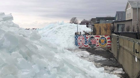 Ice is pushed out of Lake Erie by high winds on Sunday, February 24, 2019, up against homes in the Hoover Beach subdivision. The town of Hamburg, New York, emergency services agency said the area was under a voluntary evacuation. (Hamburg Emergency Services/Facebook)