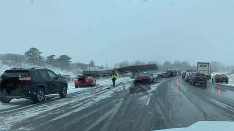 At least six vehicles were involved in a crash on Interstate 494 near Sunfish Lake, Minnesota, south of St. Paul, on Monday, March 15, 2021. (Facebook/Inver Grove Heights Fire Department)