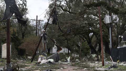 A street in Lake Charles, Louisiana, is strewn with debris and downed power lines after Hurricane Laura passed through the area on Thursday, August 27, 2020. (Photo by Joe Raedle/Getty Images)