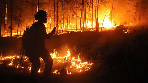 Firefighters set backfires to burn away fuels at the Mangum Fire site in the Kaibab National Forest north of the Grand Canyon in Arizona. (Kaibab National Forest)