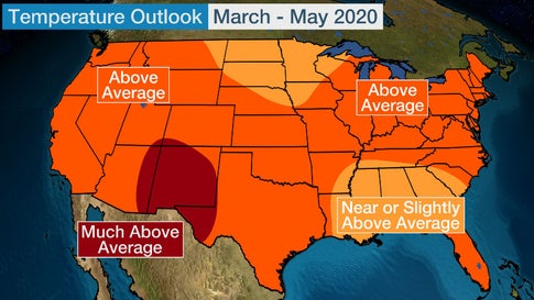 Spring 2020 Temperature Outlook: Warmer-Than-Average Temperatures Expected for Most of the Lower 48