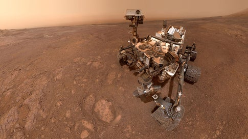 """NASA's Curiosity Mars rover took this """"selfie"""" on January 15, 2019, at the """"Rock Hall"""" drill site on the Vera Rubin Ridge. It is composed of 57 individual images taken by the rover's Mars Hand Lens Imager (MAHLI), a camera on the end of the rover's robotic arm. (NASA/JPL-Caltech/MSSS)"""