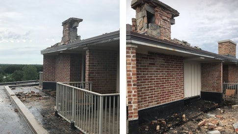 A chimney on the roof of the Eaglewood Resort and Spa in Itasca, Illinois, was damaged when it was struck by lightning on Sunday. August 18, 2019. Golfer Phil Mickelson was staying on the hotel's top floor. (Eric Bates/Eaglewood Resort and Spa)
