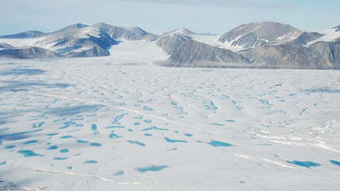 An overview of the Milne Ice Shelf from the western shore of Milne Fiord. A large part of the northern edge of the ice shelf broke off at the end of July. (Adrienne White/Canadian Ice Service)