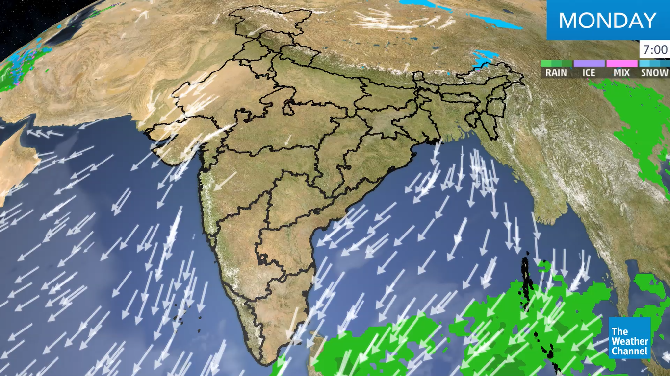 Southwesterly flow from the Bay of Bengal and a persistent Cyclonic Circulation over northeastern India triggers rain, snow and thunderstorms over the region.