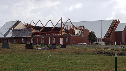The roof was ripped off the Mount Zion Baptist Church in West Paducah, Kentucky, when it was struck by a tornado shortly before 9:30 a.m. on Thursday, March 14, 2019. No one was injured. (Mount Zion Baptist Church/Facebook)