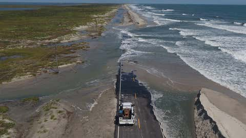 Parts of N.C. Highway 12 are washed out on Ocracoke on Saturday, September 7, 2019, after being slammed by Hurricane Dorian. (North Carolina Department of Transportation Division of Aviation/Facebook)