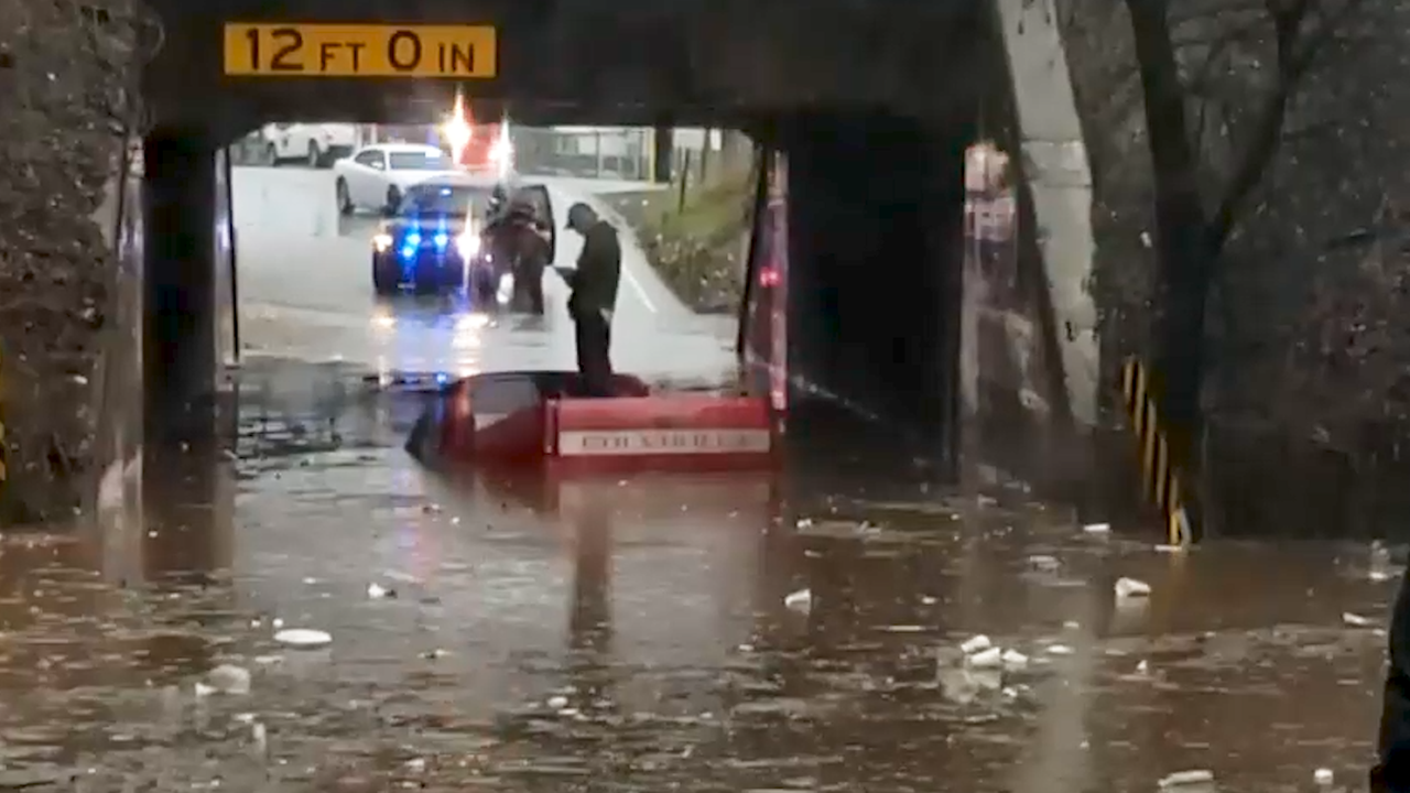 Truck Tries to Make it Through Floodwaters, Fails