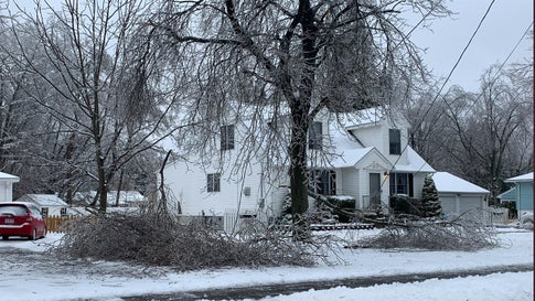 Ice-covered tree limbs knocked down power lines outside this home in North Haven, Connecticut, during Winter Storm Harper on Sunday, January 20, 2019. (Nick DiGiovanni)