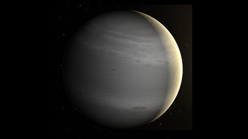 This is an artist rendering of HD 17156 b, the exoplanet assigned to the United States in the naming contest. It orbits a yellow dwarf star in the constellation Cassiopeia. (NASA)