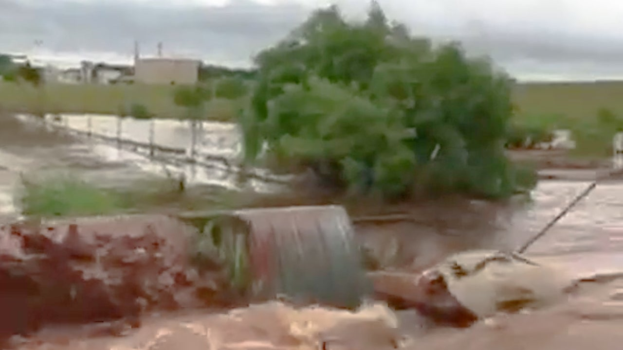 Watch Dramatic Moment Floodwaters Wash Away Road in Oklahoma