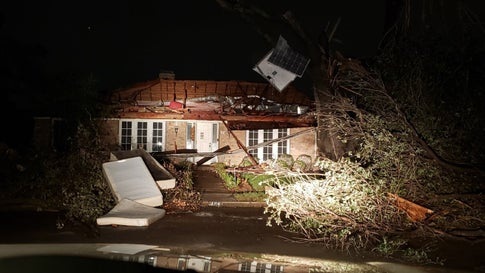 A possible tornado ripped over the roof of this home in Richardson, Texas, on Sunday, October 20, 2019. (Facebook/City of Richmond)