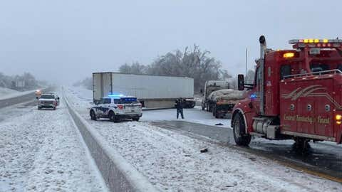 Northbound Interstate 75 in Richmond, Kentucky, was closed because of a crash involving a jackknifed semitrailer tractor on Tuesday, February 16, 2021. (Instagram/richmondkypolice)