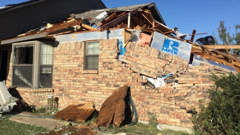This home in Rowlett, Texas, was damaged when an EF-1 tornado touched down Sunday, October 20, 2019, according to the National Weather Service office in Forth Worth. (Twitter/NWS Fort Worth)