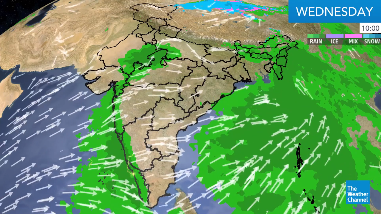 the incursion of southwesterly humid winds from the Arabian Sea into the western coast of India will trigger heavy rainfall and thunderstorms.