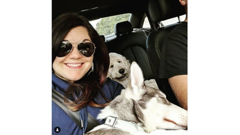 Shelly Hiatt-Saboorian and her husband, Dustin Saboorian, had planned to see the Rolling Stones in concert at the Superdome in New Orleans on Sunday night. Now, with Zoey and Bailey, they're going to Asheville, North Carolina. (Shelly Hiatt-Saboorian/Instagram)