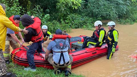 Water rescues were carried out in the town of Dickson, Tennessee, amid flooding on Saturday, Aug. 21, 2021. (City of Dickson Fire Department via Facebook)