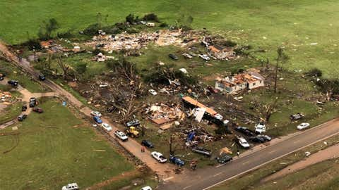 Damage near Alto, Texas, is seen in this aerial image from the Texas Game Warden helicopter team on Saturday, April 13, 2019. (Texas Game Warden/Twitter)