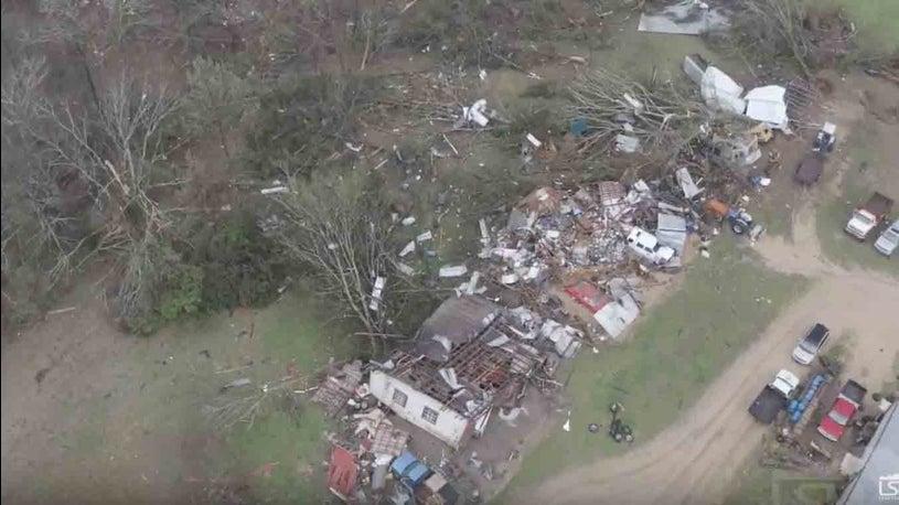 Drone Captures Destruction From Mississippi Tornado