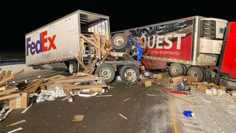 A crash involving six tractor-trailers and several other vehicles closed a part of westbound Interstate 80 near Fort Bridger, Wyoming, on Saturday, December 14, 2019. (Facebook/Uinta County Fire and Ambulance)