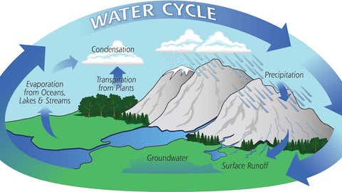 A depiction of the cycle in which evaporates from the surface of the earth, rises into the atmosphere, cools and condenses into rain or snow in clouds, and falls again to the surface as precipitation. (NASA)