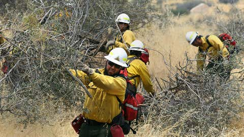 Workers cut brush off Highway 155, west of Wofford Heights, California, August 22, 2016, as part of fuel reduction for the Cedar Fire. The same powerful desert gusts that attract windsurfers to Kern County's Lake Isabella make the lakeside community of Wofford Heights particularly at risk for wildfire. So does the adjacent Sequoia National Forest, which has been plagued by drought and tree-killing beetles. (Casey Christie/The Bakersfield Californian via AP, File)